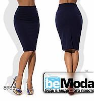Стильная женская деловая юбка средней длины с поясом в комплекте красная
