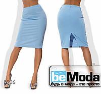 Стильная женская деловая юбка средней длины с поясом в комплекте синяя