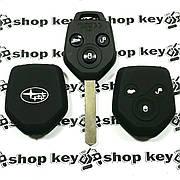 Чехол (черный, силиконовый) для авто ключа Subaru (Субару) 3 кнопки