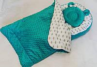 Кокон-гнездышко + ортопедическая подушка и плед для новорожденных