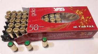 Патроны усиленные холостые YAS Gold 9 мм (пистолетные)