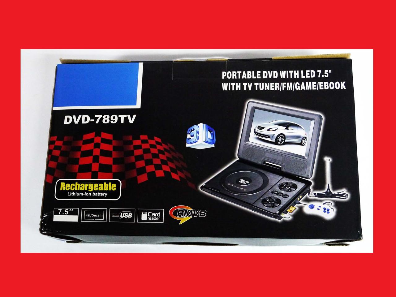 Портативний DVD плеєр 789 акумулятор, TV тюнер, USB