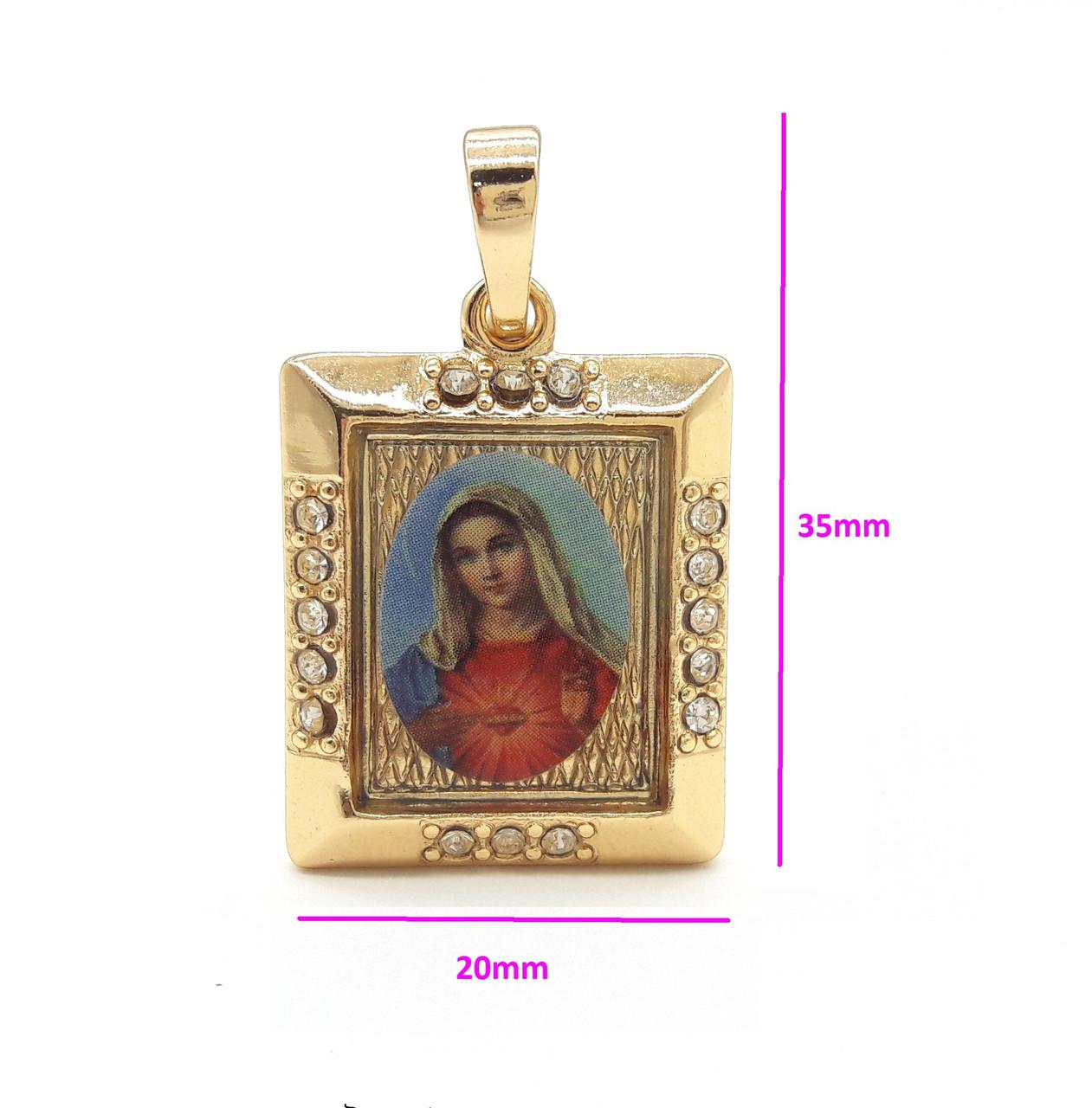 Ладанка квадратная, Богородица с цирконием, позолота