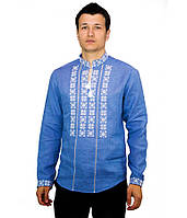 Синя вишита сорочка. Чоловіча вишиванка. Святкова чоловіча вишиванка. Интернет магазин вишиванок.
