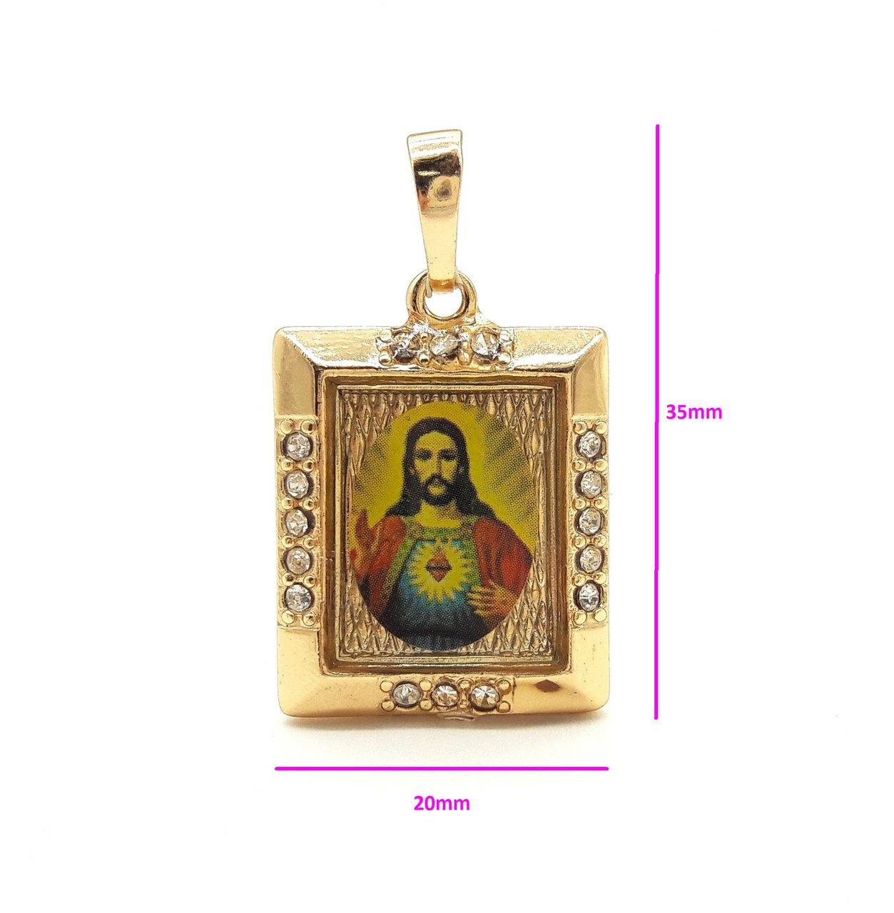 Ладанка квадратная, Христос с цирконием, позолота