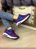 Кроссовки фиолетовые замш+текстиль