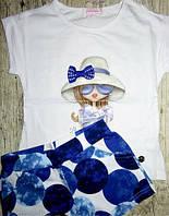 Летний костюм для девочки с шортами 4-12 лет