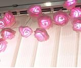 Светодиодная гирлянда розовые Розы 2м 20LED на батарейках АА, фото 3