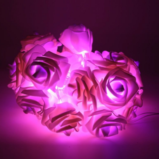 Светодиодная гирлянда розовые Розы 2м 20LED на батарейках АА