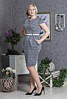 Женское синее платье с поясом принтованое рисунком