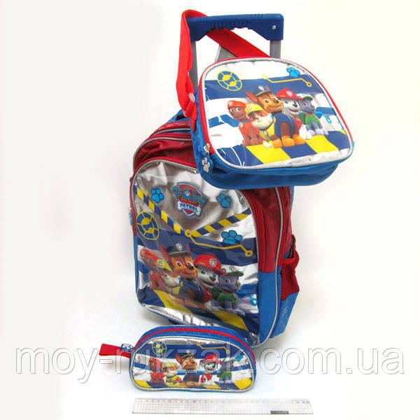 Набор детский чемодан - рюкзак на колесах + сумка + пенал Paw patrol, Щенячий патруль