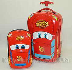 Набор чемодан детский на колесах + рюкзак Тачки