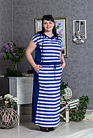 Летнее женское полосатое платье батал