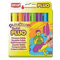 """Гуашь ( Témpera Sólida Escolar ) INSTANT PlayColor """"Pocket Fluo"""" 6цв."""