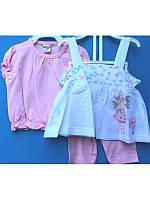 Летний комплект тройка для девочки с сарафаном 1-3 года