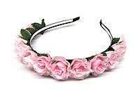 Обруч на голову для волос Розы нежно-розовые