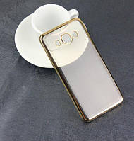 Прозрачный силиконовый чехол с глянцевым ободком для Samsung J120F Galaxy J1 (2016)  золотой