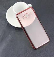 Прозрачный силиконовый чехол с глянцевым ободком для Samsung J120F Galaxy J1 (2016)  розовый