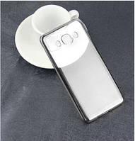 Прозрачный силиконовый чехол с глянцевым ободком для Samsung J120F Galaxy J1 (2016)  серебряный