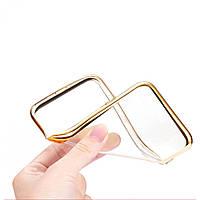 Прозрачный силиконовый чехол с глянцевым ободком для Samsung Galaxy S6 G920F/G920D Duos  золотой