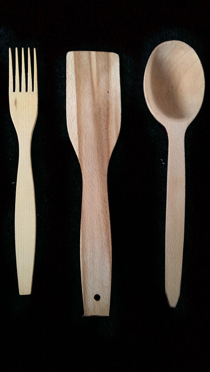 Комплект кухонный деревянный 27 см Бук вареный (Лопатка,ложка,лопатка)Оптом