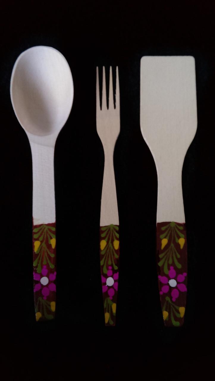 Комплект кухонный 27 см розкрашеные (Лопатка,ложка,лопатка)Оптом