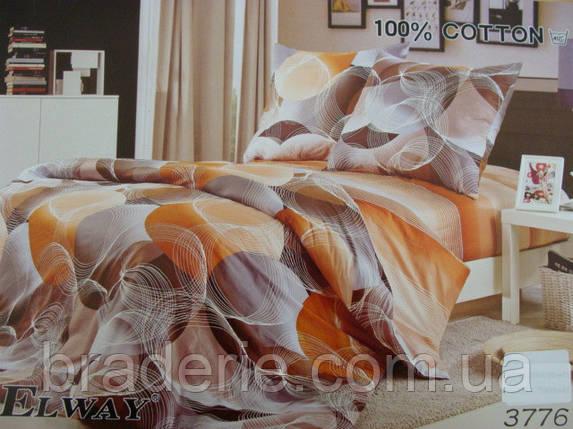 Сатиновое постельное белье семейное ELWAY 3776, фото 2