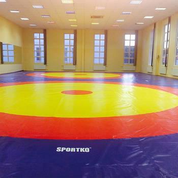 Ковёр борцовский Sportko трёхцветный