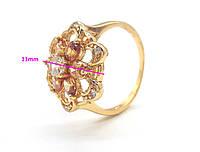 Кольцо позолоченное, Цветок с цирконием под янтарь, р.16,5