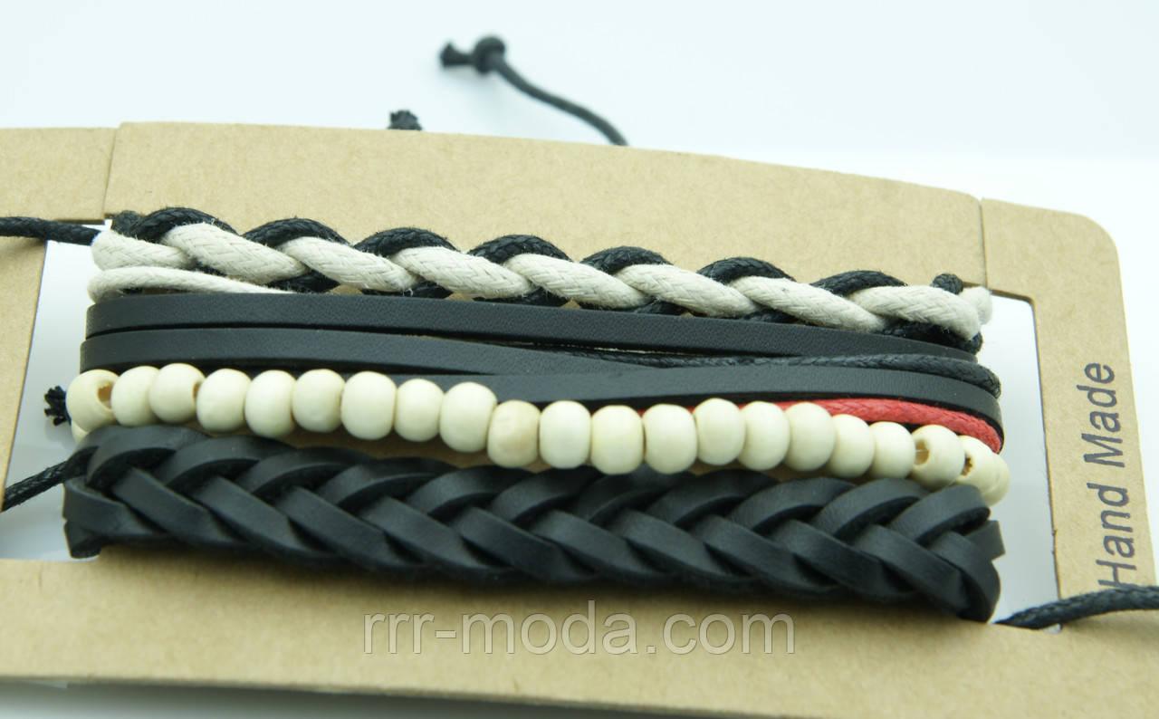Кожаные комплекты плетенных браслетов фенечек 155 - Бижутерия оптом «R. R. R.» в Одессе