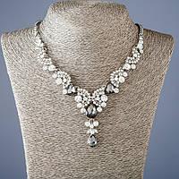 """Колье на цепочке с серыми кристаллами L-50 см - цвет металла """"серебро"""""""