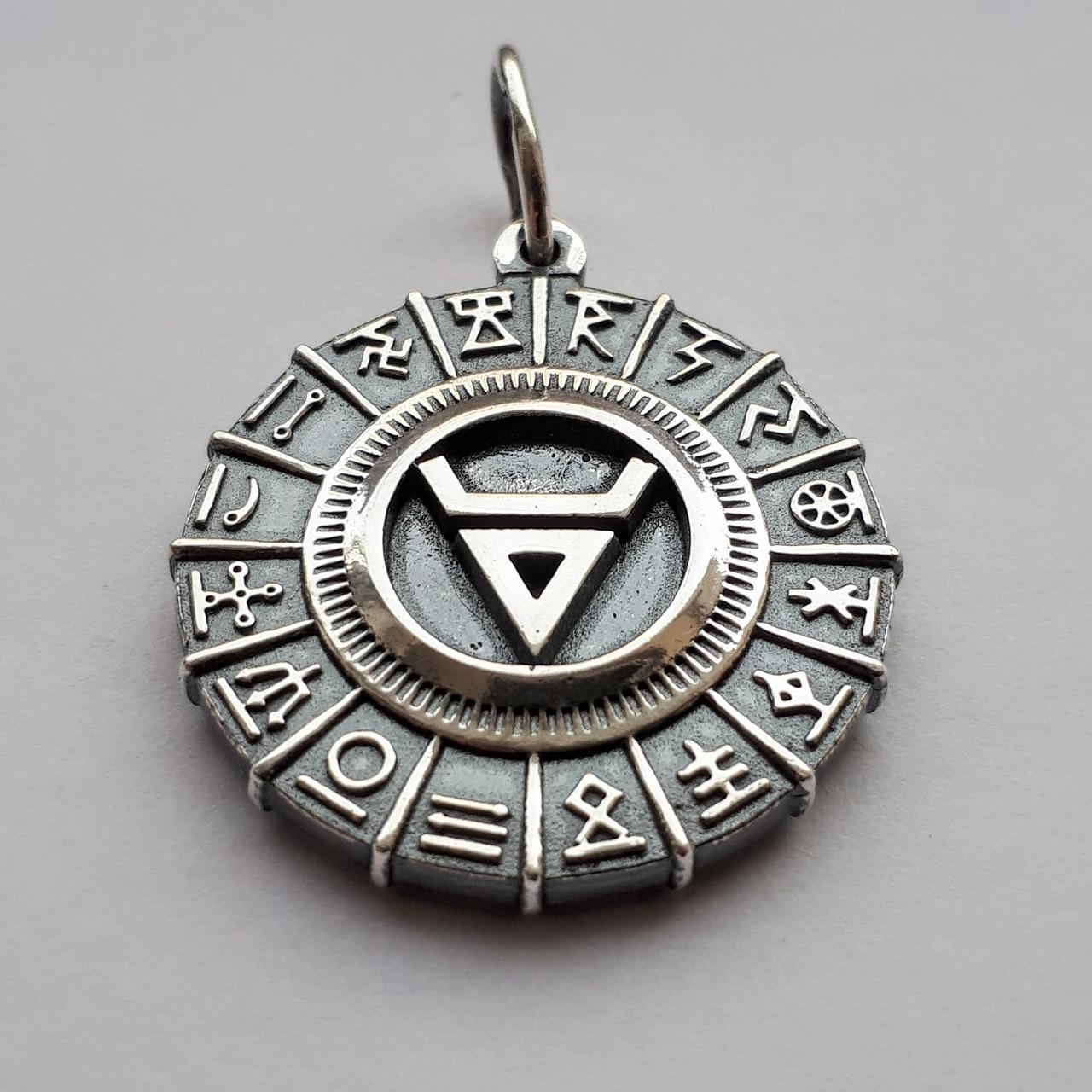 """Срібний підвіс оберіг """"Велес"""" в Сварожьем колі з срібла 925 проби"""