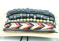 Кожаный комплект плетенных браслетов фенечек 156