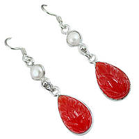 Агат красный и жемчуг, серебро 925, серьги, 315СА