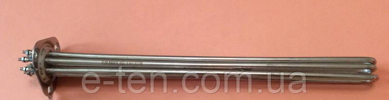 Блок ТЭН из нержавейки 8000W / 220-380V / L=300мм на треугольном фланце (3 крепежных отверстия)    Турция