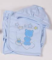 """Летний комплект в роддом """"Мишутка"""" 3 предмета (ползунки, распашонка, шапочка) Голубой, фото 1"""