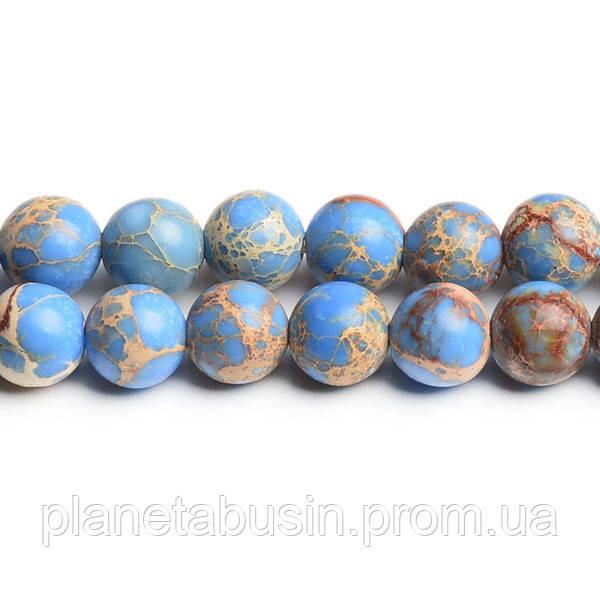 8 мм Голубой Варисцит, CN180, Натуральный камень, Форма: Шар, Отверстие: 1мм, кол-во: 47-48 шт/нить
