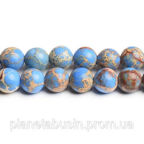 8 мм Голубой Варисцит, CN180, Натуральный камень, Форма: Шар, Отверстие: 1мм, кол-во: 47-48 шт/нить, фото 2