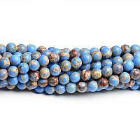 Голубой варисцит, Натуральный камень, На нитях, бусины 8 мм, Круглые, Отверстие 1 мм, кол-во: 47-48 шт/нить