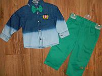 Костюмчик для мальчика с джинсовой рубашкой и зелеными джинсами рост 92 см и 98 см