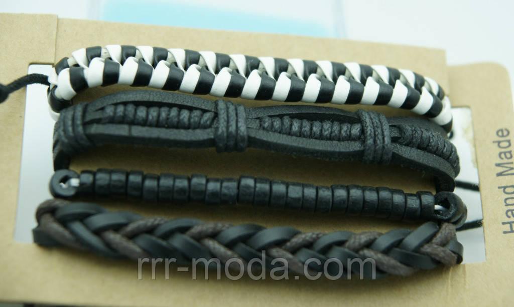 Плетенный браслет для мужчин, комплект многорядные браслеты фенечки 165