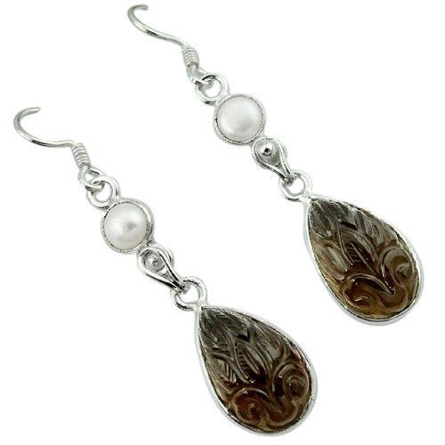 Раухтопаз гемма и жемчуг, серебро 925, серьги, 318СР