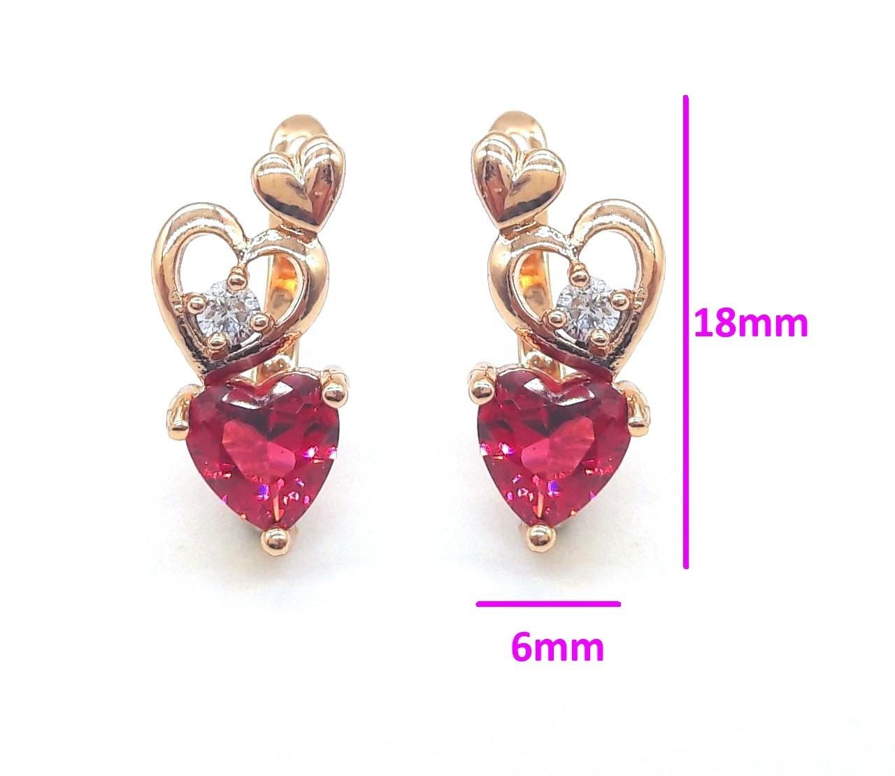 Серьги позолота, Три сердца с цирконием под рубин