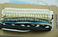 Мужские плетенные браслеты фенечки, комплекты мужских многорядных браслетов 176