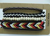 Многорядные плетенные браслеты фенечки, комплекты мужских многорядных браслетов 178