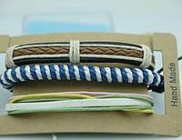 Летние плетенные браслеты фенечки, комплект мужских многорядных браслетов 179