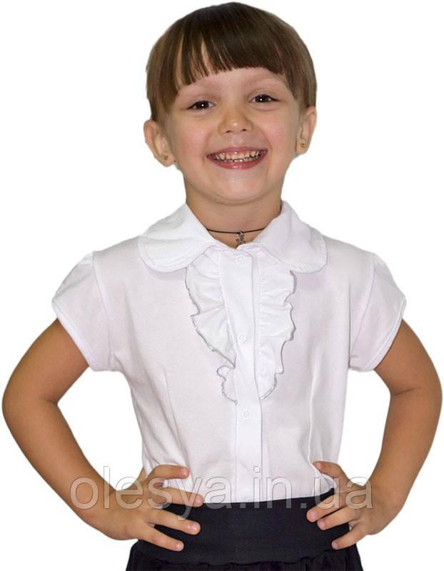 Школьная блуза с коротким рукавом из белой фуликры Размер 30