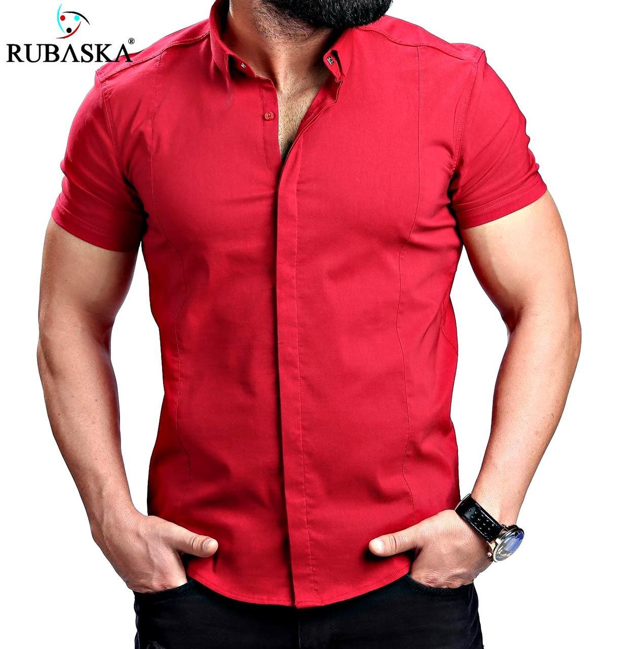 Стильная мужская рубашка с коротким рукавом, красная