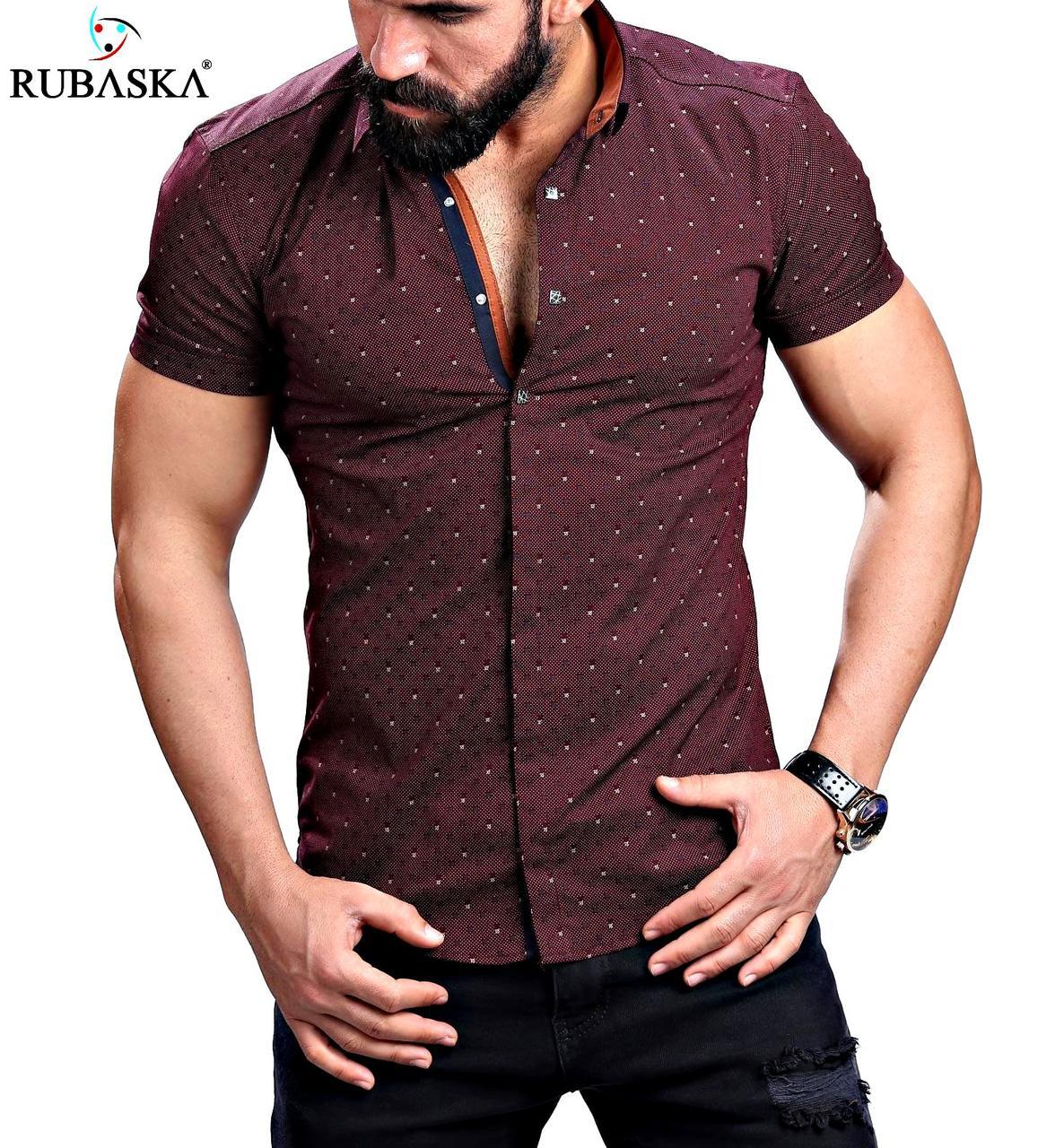 Стильная мужская рубашка с коротким рукавом .коричневая