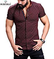 Стильная мужская рубашка с коротким рукавом .коричневая, фото 1
